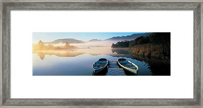Rowboats At The Lakeside, English Lake Framed Print by Panoramic Images