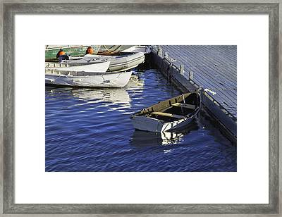 Rowboats Docked On The Coast Of Maine Framed Print by Keith Webber Jr