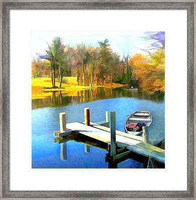 Rowboats On Blue Water Lake Framed Print by Elaine Plesser