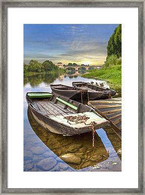 Rowboats On The French Canals Framed Print by Debra and Dave Vanderlaan