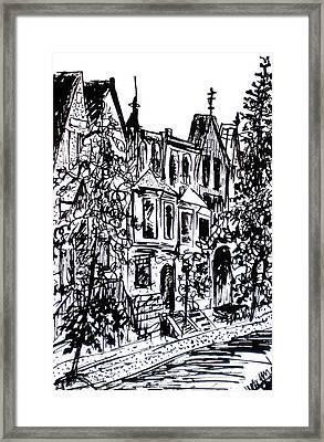 Rowhouses Framed Print by Deborah Dendler