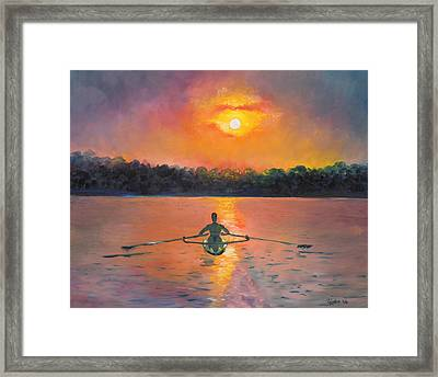 Rowing Away Framed Print