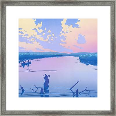 Canoeing The River Back To Camp At Sunset Landscape Abstract - Square Format Framed Print