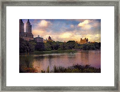 Rowing In Central Park Framed Print