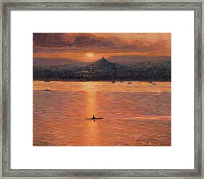 Rowing In The Sunset Framed Print by Marco Busoni