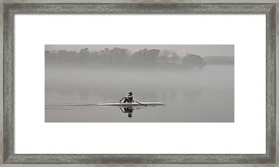 Rowing Into Morning Fog Framed Print