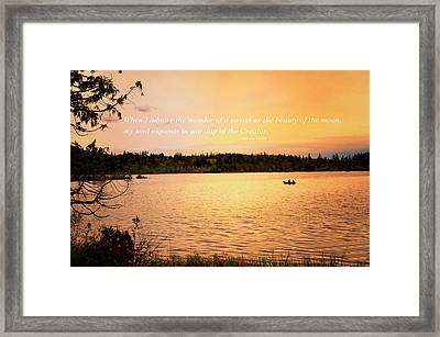 Rowing Into The Sunset Framed Print by Kelly Reber