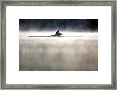 Rowing Framed Print by Mitch Cat