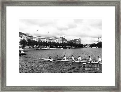 Rowing On The Lake In Hamburg Mono Framed Print by John Rizzuto
