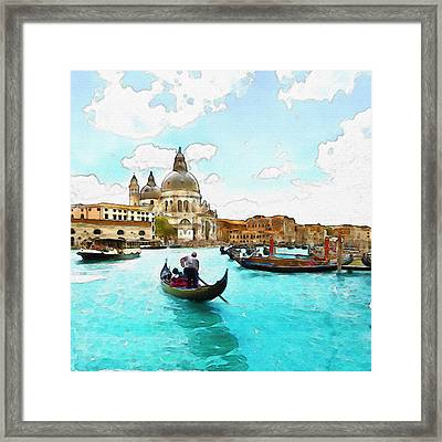 Rowing In Venice Framed Print by Marian Voicu