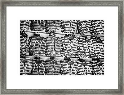 Rows Of Flip-flops Key West - Black And White Framed Print by Ian Monk