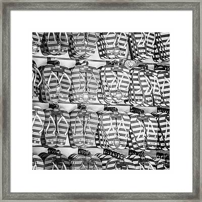 Rows Of Flip-flops Key West - Square - Black And White Framed Print by Ian Monk