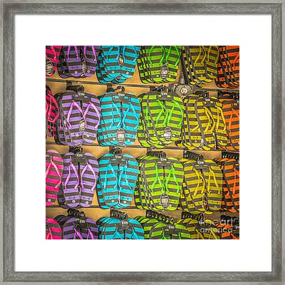 Rows Of Flip-flops Key West - Square - Hdr Style Framed Print by Ian Monk