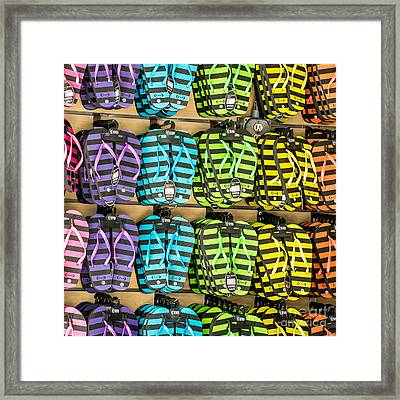 Rows Of Flip-flops Key West - Square Framed Print by Ian Monk