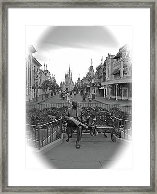 Roy And Minnie Mouse Black And White Magic Kingdom Walt Disney World Framed Print by Thomas Woolworth