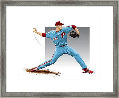 Roy Halladay Framed Print by Scott Weigner