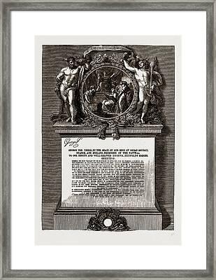 Royal Academy Diploma Of Sir Joshua Reynolds Framed Print by Litz Collection