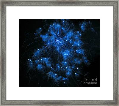 Royal Blue Fireworks Framed Print