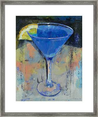 Royal Blue Martini Framed Print by Michael Creese