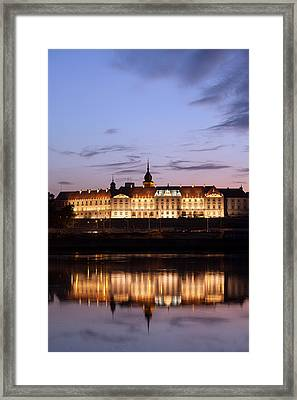 Royal Castle And Vistula River At Twilight In Warsaw Framed Print