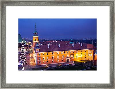 Royal Castle In Warsaw At Night Framed Print