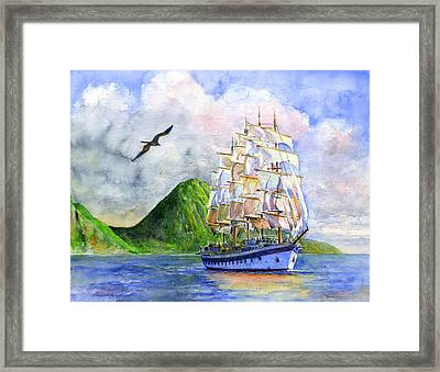 Royal Clipper Leaving St. Lucia Framed Print