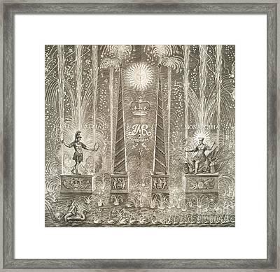 Royal Coronation Fireworks, 17th Century Framed Print