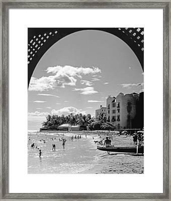 Royal Hawaiian Hotel Framed Print by Underwood Archives