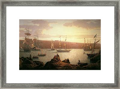 Royal Naval Vessels Off Pembroke Dock Hilford Haven Framed Print by Robert Salmon