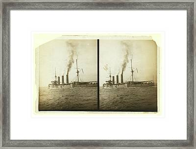 Royal Navy Armored Cruiser Arriving In New York Framed Print by Litz Collection