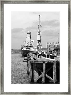 Royal Navy Docks And Hms Defender Framed Print