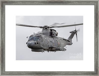 Royal Navy Eh-101 Merlin In Flight Framed Print