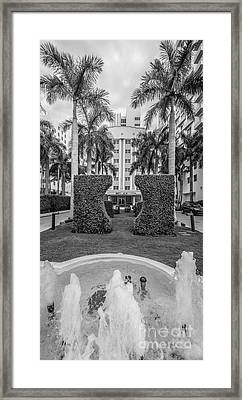 Royal Palm Hotel On South Beach Miami - Black And White Framed Print by Ian Monk