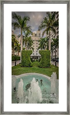 Royal Palm Hotel On South Beach Miami - Hdr Style Framed Print by Ian Monk