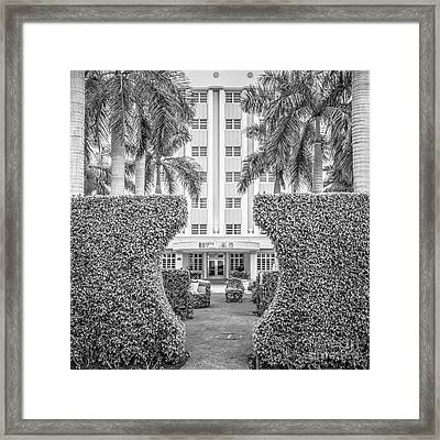 Royal Palm Hotel On South Beach Miami - Square Crop - Black And White Framed Print by Ian Monk