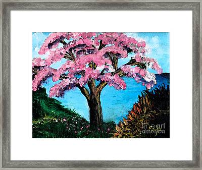 Framed Print featuring the painting Royal Pink Poinciana Tree by Ecinja Art Works