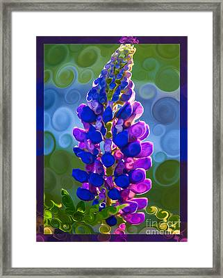 Royal Purple Lupine Flower Abstract Art Framed Print