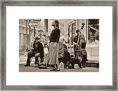 Royal Street Singer And Musicians Framed Print by Kathleen K Parker