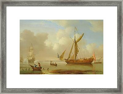 Royal Yacht Becalmed At Anchor Framed Print by  Peter Monamy