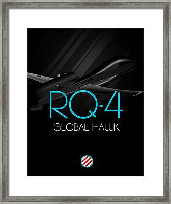 Rq-4 Global Hawk Blackout Framed Print by Reggie Saunders