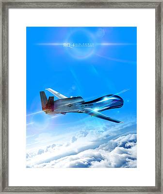 Rq-4 Global Hawk Into The Blue  Framed Print by Reggie Saunders