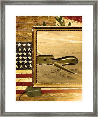 Rq-4 Global Hawk Rustic Flag Framed Print by Reggie Saunders