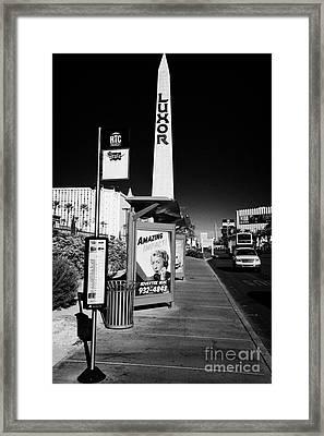 rtc deuce sdx bus stop outside the luxor hotel on Las Vegas boulevard Nevada USA Framed Print