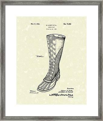 Rubber Boot 1926 Patent Art Framed Print by Prior Art Design
