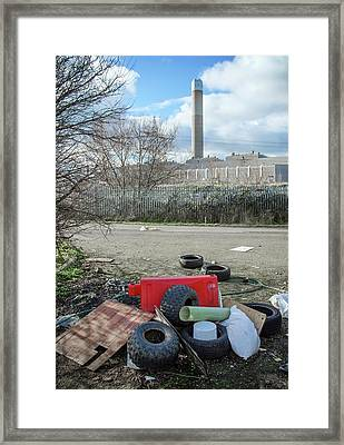 Rubbish Dumped Near Power Station Framed Print by Robert Brook