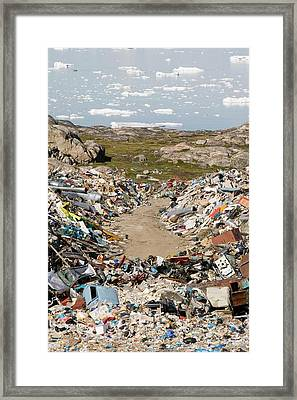 Rubbish Dumped On The Tundra Framed Print