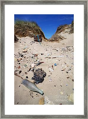 Rubbish On A Sand Dune Framed Print by Sami Sarkis