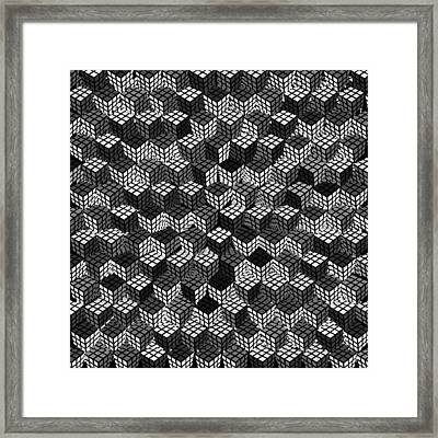 Rubik's Cube Abstract Black And White Framed Print