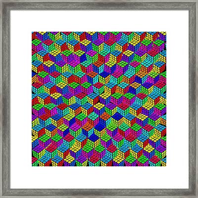 Rubik's Cube Abstract Framed Print by Tony Rubino