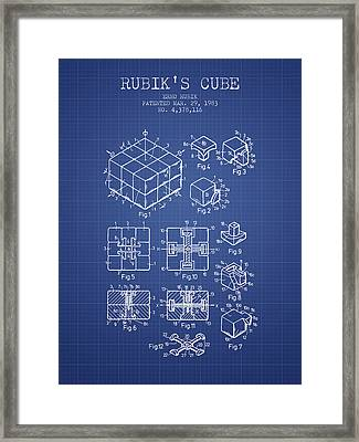 Rubiks Cube Patent From 1983 - Blueprint Framed Print by Aged Pixel